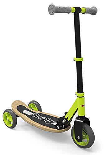Smoby 7600750174 Roller Holztrittbrett, Kinder ab 3 Jahren Wooden Scooter, 3 Räder, Grün/Schwarz, 70