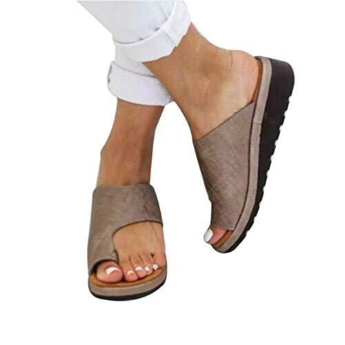 Puimentiua Damen Plattform Zehentrenner Sandalen Clip Toe Flip Flops PU Leder Pantoffel für Sommer Strand Reise