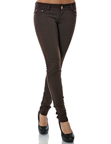 Damen Hose Treggings Skinny Röhre Stretch DA 13011 Farbe Braun Größe S / 36