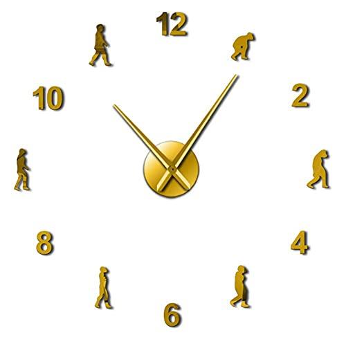 Theory of Human Evolution DIY Wall Art Reloj de Pared Gigante Hombres Evolución Decoración para el hogar Sin Marco Aguja Gigante Reloj de Pared Science Gift-Gold_47_Inch