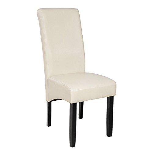 TecTake Lot de 2 chaises de salle à manger 106 cm chaise de salon mobilier meuble de salon - diverses couleurs au choix - (Crème | No. 401295)