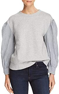 REBECCA TAYLOR Womens Gray Mixed Media Long Sleeve Crew Neck Sweater US Size: L