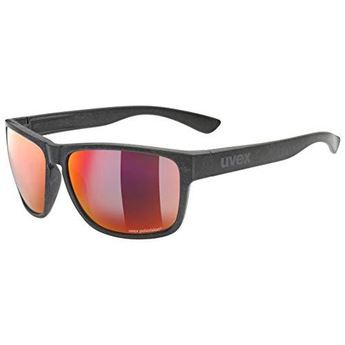 uvex lgl Ocean P Gafas de Sol, Unisex-Adult, Black Mat/Red-Red, One Size