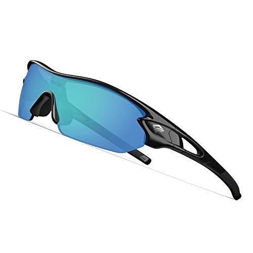 TOREGE Polarized Sports Sunglasses with 5 Interchangeable Lenes for Men Women Cycling Running Driving Fishing Golf Baseball Glasses TR002 BlackampIce Blue Lens