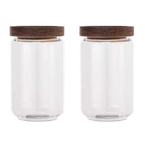 BESTonZON Glas-Vorratsbehälter mit Holzdeckeln, 2 Stück Luftdichte Küchenkanister, Glas-Vorratsglas für Vorratskammern (750ml)