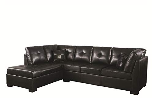 where to buy contemporary black leather sectional sofa left side chaise by coaster carolyne. Black Bedroom Furniture Sets. Home Design Ideas