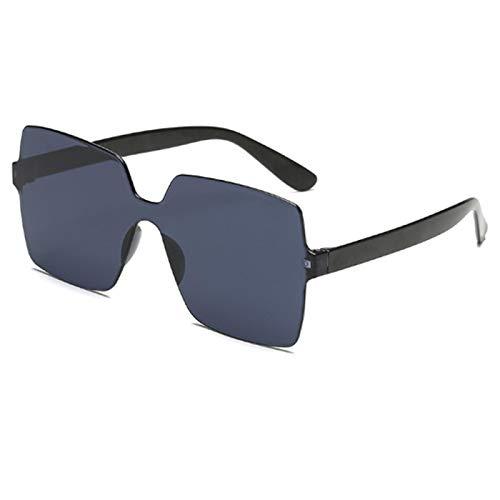 NJJX Gafas De Sol De Gran Tamaño, Pieza DeLente Cuadrada, Gafas De Sol Para Mujer, Gafas De Plástico Transparentes, Gafas De Sol Para Mujer, Negro