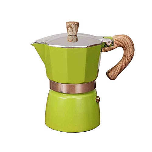 FDT112. Kaffeemaschine Set Italian Moka Pot European Kaffee Topf Türkische achteckige Topfkaffee (Color : Green, Size : 6-Cup)