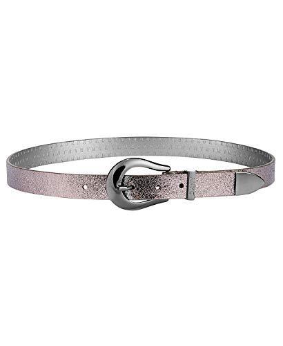 DKNY Women's Metallic Tipped Belt (Gunmetal,M)