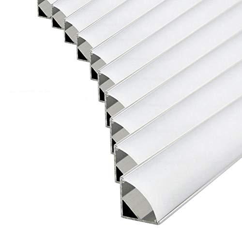 Pack ahorro 10 Perfil de aluminio 1616 1m angular para tiras Led con tapa blanca