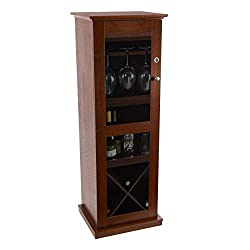 commercial Atlantic Herin Lockable Bar Cabinet – 16 Wine Bottles, Liqueur Racks, 9 Wine Glasses, and… locking wine storage