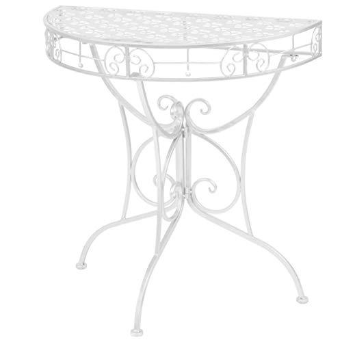 Festnight- Halbrund Metall Beistelltisch | Vintage Wandtisch | Halbtisch Gartentisch Konsole, 72x36x74 cm Silber