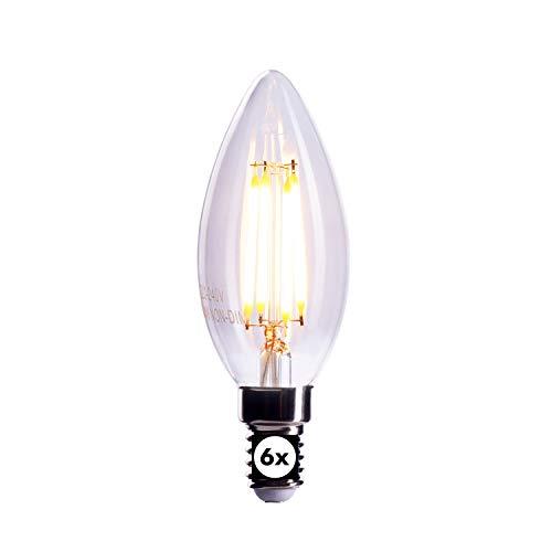 CROWN LED 6 x Filament Glühbirne E14 Fassung, 4W, Ersetzt 40W Birne, Dimmbar, Warmweiß, 230V, FL03, Klare Lampe zur hellen Beleuchtung