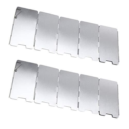 VALICLUD Estufa Plegable Al Aire Libre Parabrisas 9 Placas de Aluminio Estufa para Acampar Parabrisas Quemador de Butano Ligero Parabrisas Mochilero Camping Picnic Cocina 2 Piezas