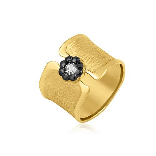 Breiter Ring Damen Silber 925 massiv Bandring mit Stein Gelbgold vergoldet Gr 48/62 (61 (19.4))