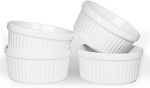 KitchenTour Porcelain Souffle Dishes 12 Ounces Oven Safe Ramekins for Baking Souffle Creme Brulee product image