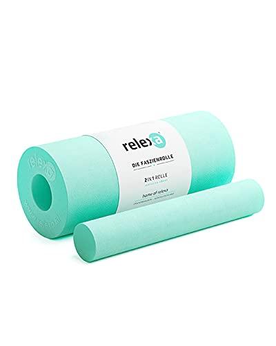relexa® Rodillo de Masaje 2 en 1 para el entrenamiento de fascias y de yoga, Rollo de Espuma, Largo 35 cm, Diametro 14 cm...