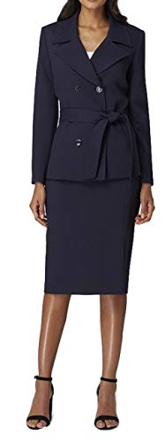Tahari by Arthur S. Levine Double-Breasted Trench-Style Skirt Suit (Navy) (8 Petite)