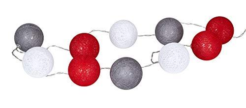levandeo Guirnalda de 10 luces LED, bolas de algodón, color rojo, gris y blanco