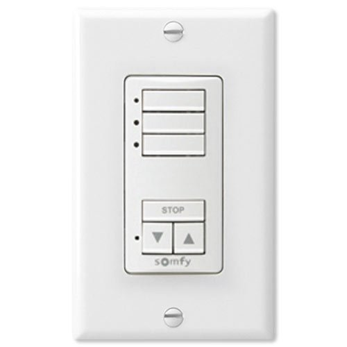 Somfy 1811071 DecoFlex WireFree RTS Wall Switch, 3 Channel, White Electric Window Shades Best Home Automation System