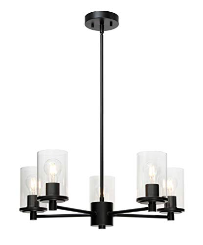 XiNBEi Lighting Chandeliers, Modern 5 Light Black Adjustable Pendant Lighting with Glass for Dining Room XB-C1240-5-MB
