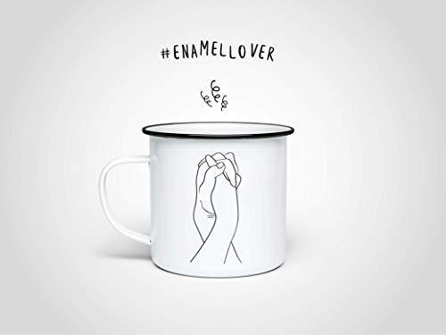 Hands Emaille-Tasse — Edelstahltasse, Outdoortasse, Campingbecher, Vintagetasse mit Skizze, Beche mit Hand, Kaffeetasse, Geschenk Kaffee Tee