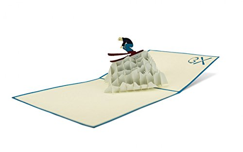 Sport Skifahrer 3-D Pop Up Grußkarte Geburtstag Geldgeschenk Skifahren Handmade 15x15cm