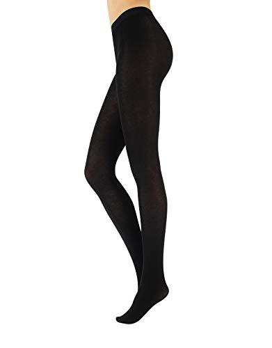 CALZITALY Collant Opaco Lana Donna | Calzamaglia Cashmere | Calze Coprente | 150den | Nero, Blu | S M L XL (M, Nero)