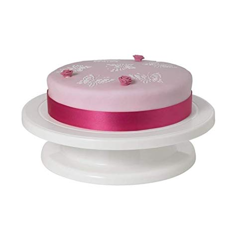 ORZIX Cake Turntable Revolving Cake Decorating Stand   360° Rotating, 28 cm, Plastic, White