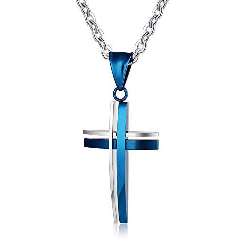 Beydodo Damen Halskette mit Anhänger Blau Kreuz Kette Blau für Freundschaftskette