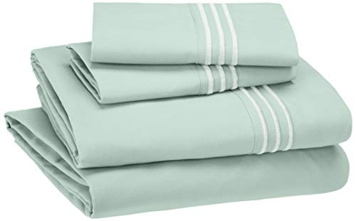 Pure Extra Long Staple Cotton Deep Pocket Bedsheet for Kids and Adults California Design Den Twin Cotton-Sheet Seafoam Spa Color 600 Thread Count Sateen Weave Soft Fitted Sheet