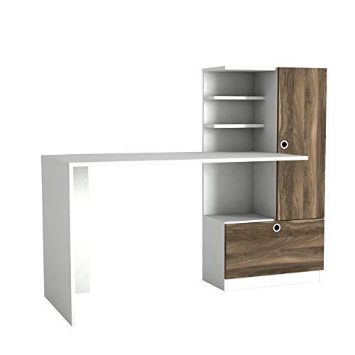 Alphamoebel 5054 Merinos Schreibtisch Computertisch Arbeitstisch Bürotisch Laptoptisch PC Tisch für Büro, Holz, Weiß Walnuss, großes Regalelement, Ablagefächer, 149,5 x 61,8 x 73,8 cm