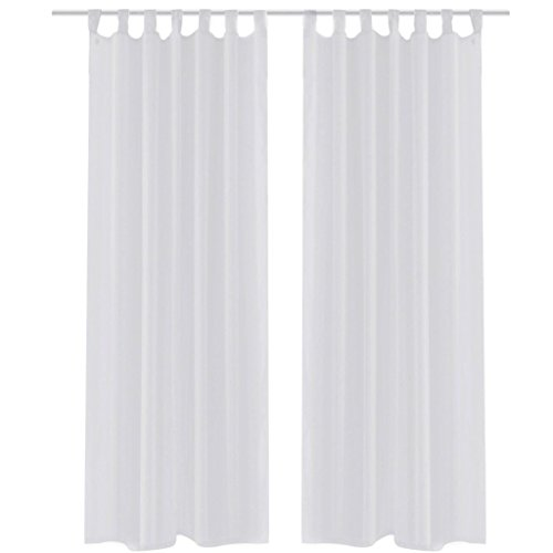 Festnight Juego de 2 Cortinas Transparentes Decorativa Casa Blanca