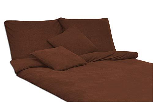 Juego de cama (200 x 220 cm y 2 fundas de almohada de 70 x 80 cm), color marrón