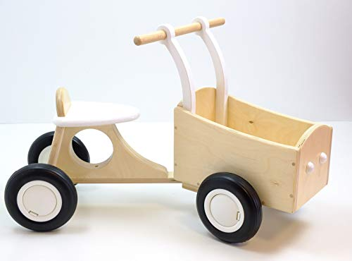 Unbekannt Bakfiets / tolles Vierrad mit Transportbox / Material: Holz / Farbe: Natur+Weiss / Maße: ca. 72 x 35 x 43 cm - Sitzhöhe: 25 cm / 1+