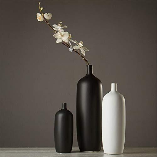 SUWIN Florero japonés de cerámica Hecho a Mano en Blanco y Negro de Tres Piezas, arreglo Floral, decoración del hogar, Sala de Estar Planta de Flor Tubo