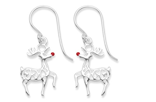 Festive Gift Boxed - Sterling Silver Ruldolph Reindeer with red nose Earrings - SIZE: 16mm x 11mm 6094RED