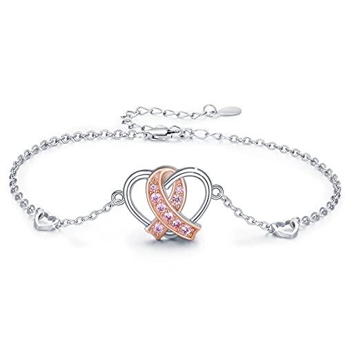 Pulsera mujer corazón de plata pulsera ajustable pulsera para mujer cinta rosa joyería conciencia esperanza cáncer superviviente regalo