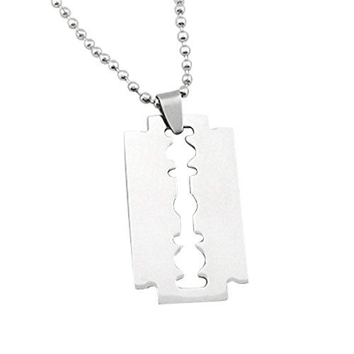 Gemini_Mall, collana da uomo con ciondolo a forma di lametta, in acciaio inox, tono argento