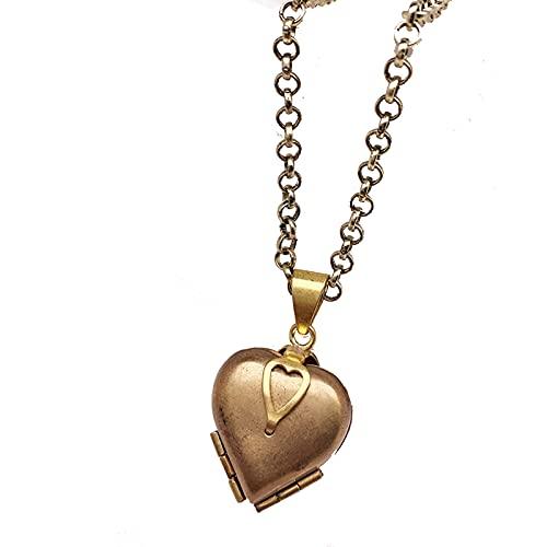 MHXQD Collar Locket para Mujeres Hombres Niñas Que Contiene Imágenes Collares De Fotos Medallones con Colgante De Corazón Regalos para Mujeres Cumpleaños