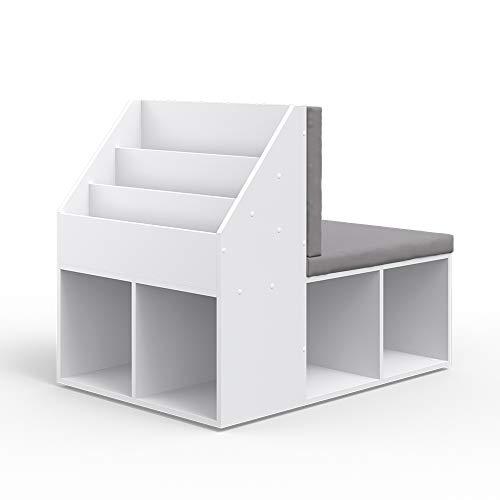 Vicco Kinderregal Onix mit Sitzbank 6 Faltboxen Kindersitzbank Kinderzimmerregal (Ohne Faltboxen)