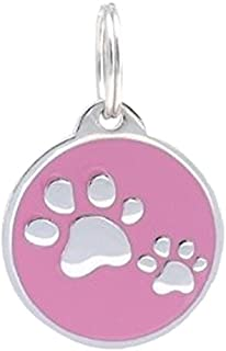 PetTouchID Smart Pet ID Tag, QR Code, NFC Scan, Online Pet Page, GPS Location (PINK Paws)