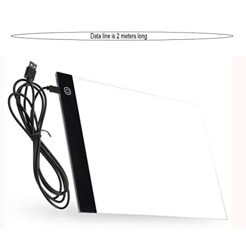 KoelrMsd Tableta de Dibujo Led A4, Almohadilla de gráficos Digitales, Caja de luz Led USB, Tablero de Copia, Mesa de Escritura de Pintura gráfica de Arte electrónico