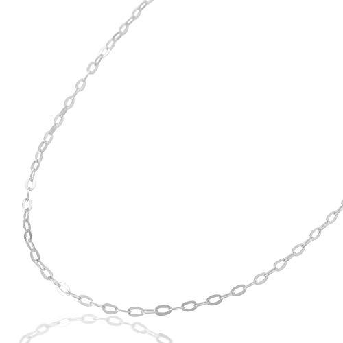 ネックレスチェーン あずきチェーン ハートの形のアジャスター付き K10 全長:45cm (K10WG(10金ホワイトゴールド))