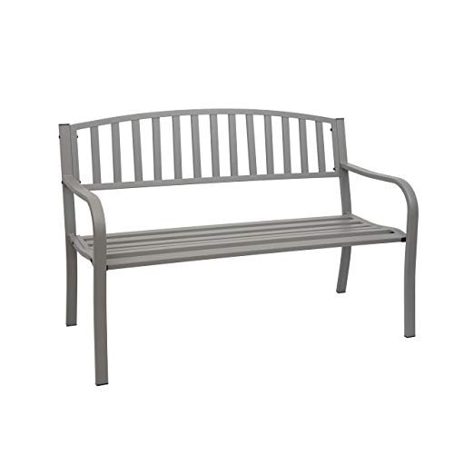 Mendler Gartenbank HWC-F43, Bank Parkbank Sitzbank, 2-Sitzer pulverbeschichteter Stahl - grau