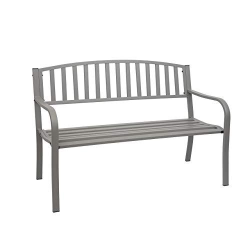 Mendler Gartenbank HWC-F43, Bank Parkbank Sitzbank, 2-Sitzer pulverbeschichteter Stahl ~ grau