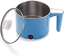 FLYNGO Cool-Touch Hot Pot 1.5-LTR Electric Cooker Kettle with Multi-Function for Noodles, Steam, Egg Boil, Soup with Over-Heating Protection, Boil Dry Protection with Glass Lid