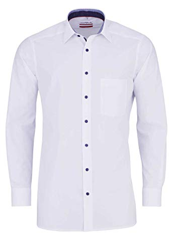 Marvelis Modern Fit Hemd Langarm New Kent Kragen schwarzer Besatz weiß Größe 46