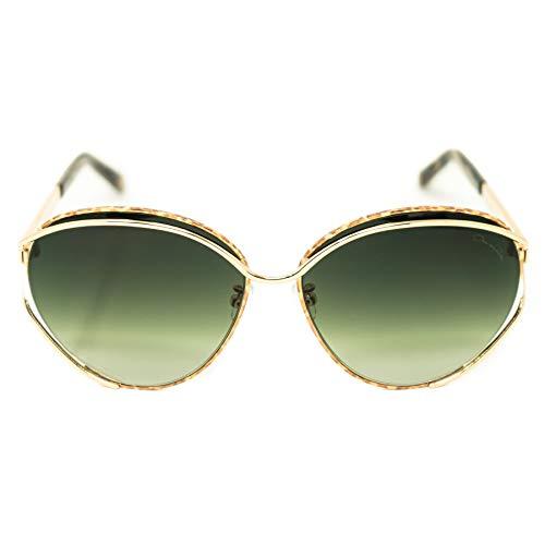 Oscar De La Renta Sonnenbrille, ovaler Rahmen, gold-bernsteinfarben mit grünen Gläsern, Kategorie 3 ODLR61C1SUN