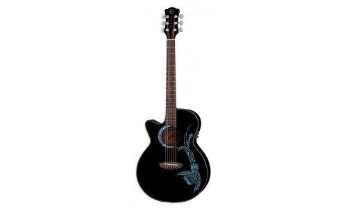 Luna Guitars FAU PHX BLK LEFTY - Guitarra electroacústica (para zurdos), color marrón
